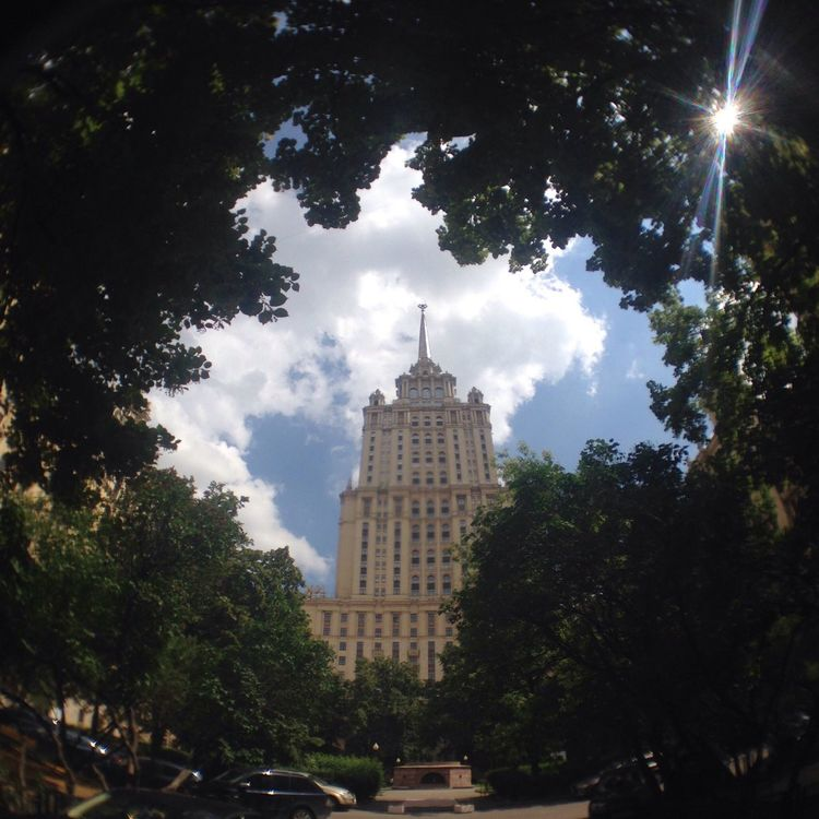 Moscow summer Moscow Moscow City Fisheye Street Photography Fisheye Lens Fisheye Architecture Building Trees Building Among Trees Looking Up Sunny Summer Days Hot Day Cityscapes Sky Building Trees Here Belongs To Me Hidden Gems