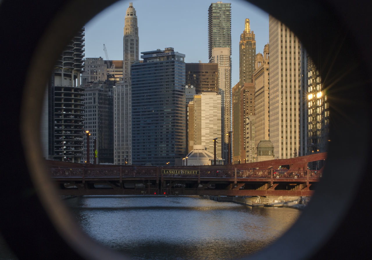 Chicago at Sunset Architecture Bridge Building Exterior Chicago Chicago Architecture City Fish-eye Lens Loop River Sunset Travel Destinations Urban Skyline