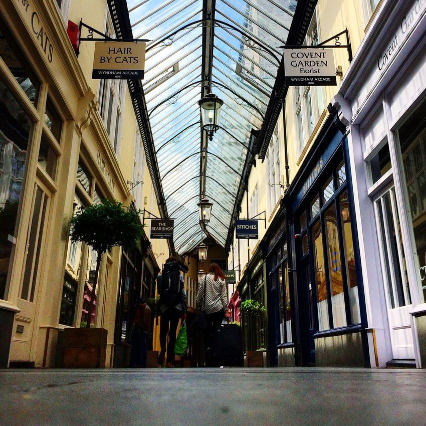 Castle Arcade Shopping Mall Arcade Antique Architecture Cardiff England People Interior