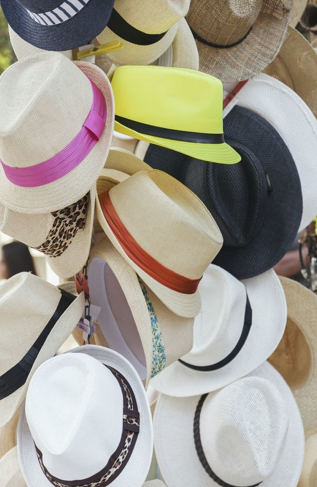 Collection Multi Colored Arrangement Hats Headwear Clothes Clothing Summer Summertime Selling Retail  Shopping Accesories