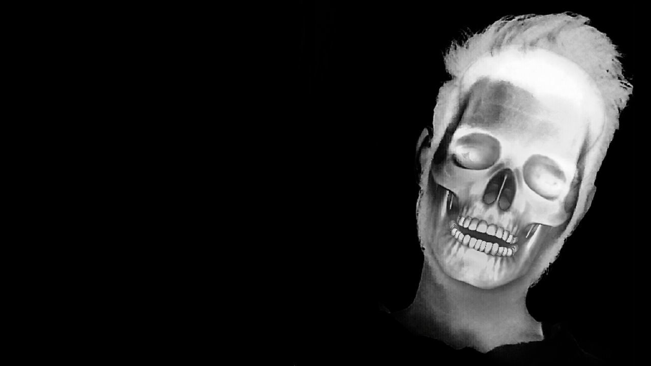 black background, studio shot, one person, human face, headshot, close-up, portrait, young adult, halloween, people