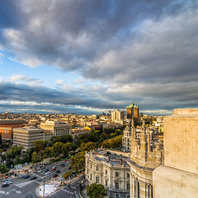 Madrid cityscape from new City Hall Aerial Shot Architecture Business Castellana Cibeles Cityscape Cityscapes_collection Cloud - Sky Culture High Angle View Moody Sky SPAIN Street Streetphotography Sunset Top View Travel Urban Urban Geometry Urban Landscape