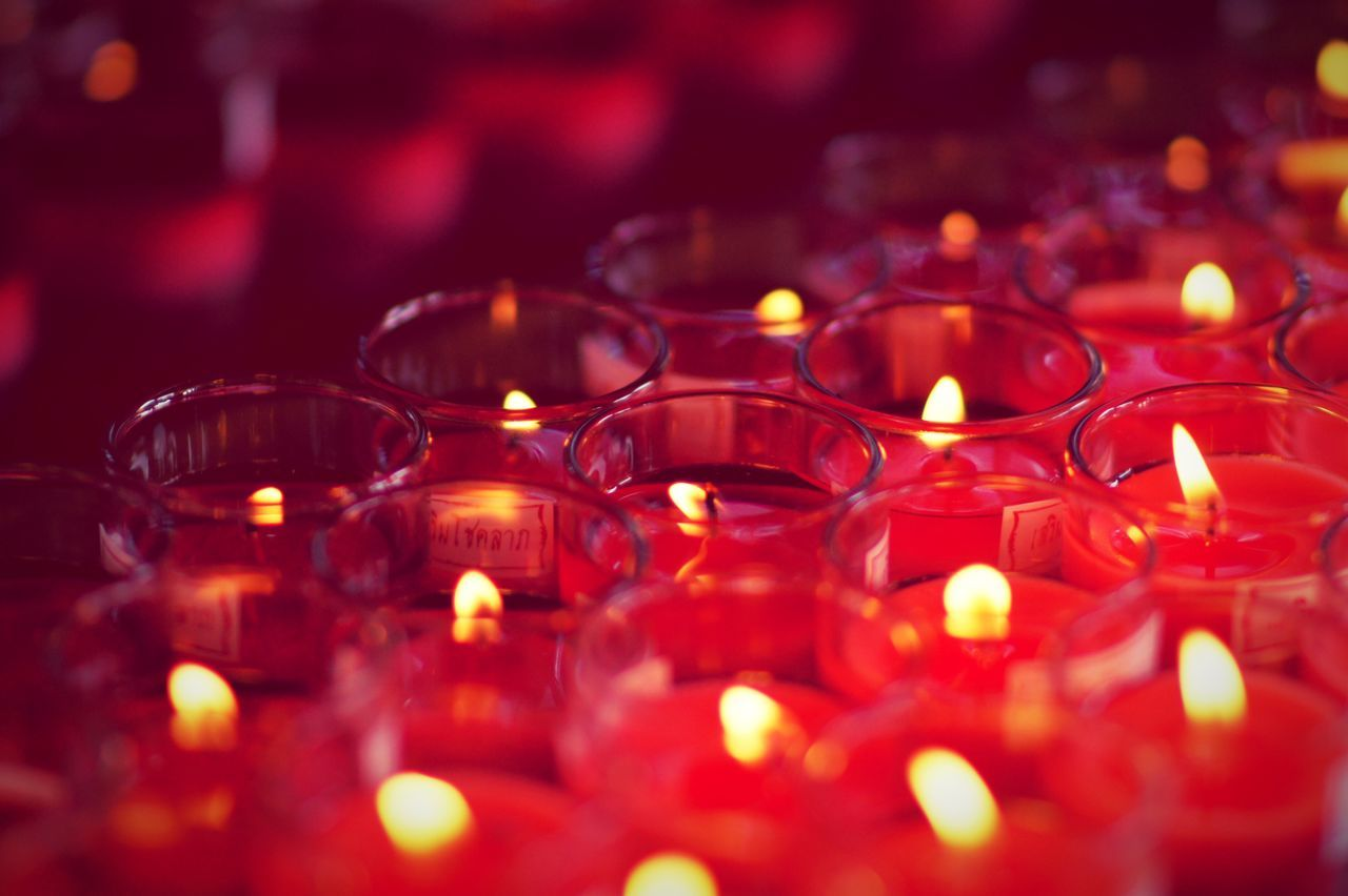 Candle Candlelight Candles Candle Light Candle Night Fire Light Light And Shadow Red Glass Glasses Glass - Material Night