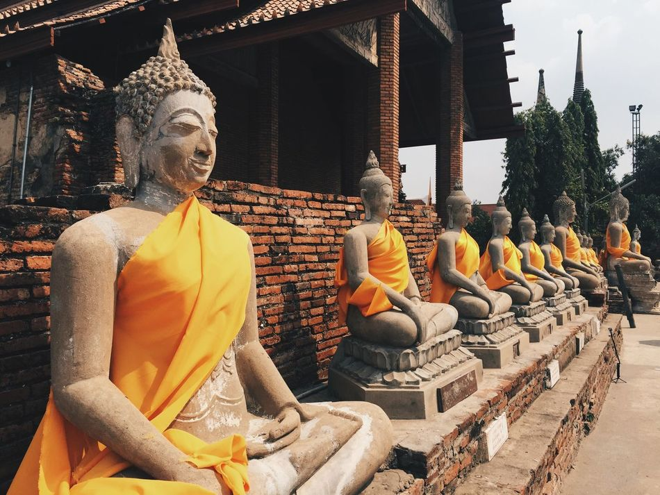 Thailand Religion Statue Spirituality Architecture In A Row Gold Colored Travel Destinations Cultures No People Day Outdoors Culture Buddha Archaeological Sites Thaiculture Ayutthaya Ayutthaya | Thailand