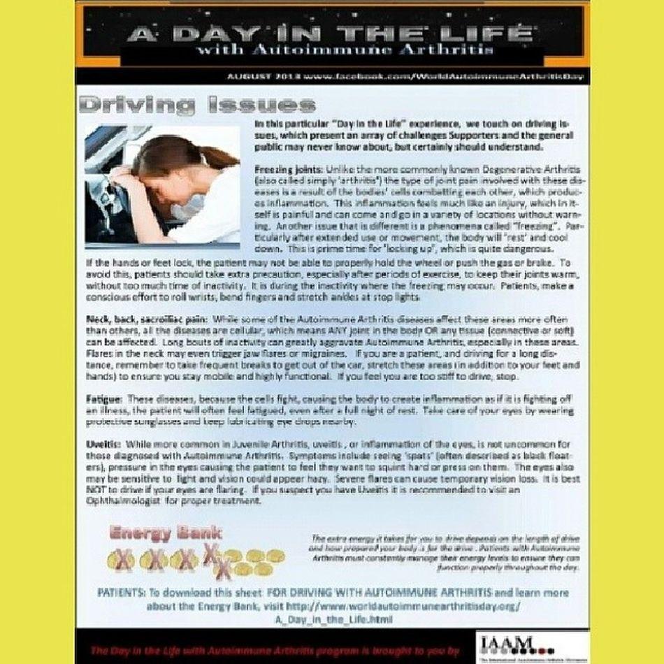 Autoimmune Arthritis Awareness UnitedAdvocacy ADayInTheLife Driving Issues