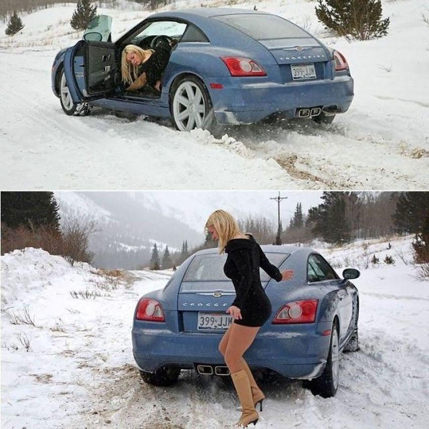 Bir el atin ablaya yardim edin gencler :p Fail Komik Komedi Fun funny girl auto snow humor winter