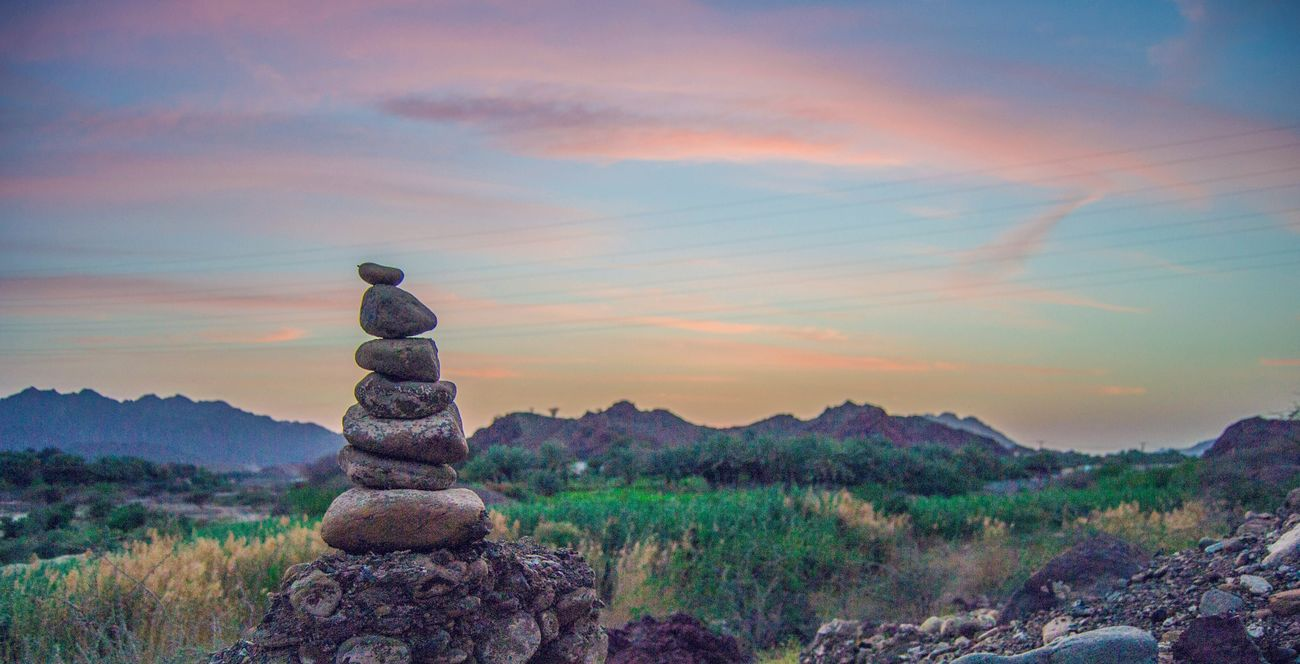 Stack Sunset Tranquil Scene Beauty In Nature Tranquility Nature Stone - Object Sky Scenics Rock - Object No People Cloud - Sky Landscape Outdoors Tree Day Hatta Dubai Hatta