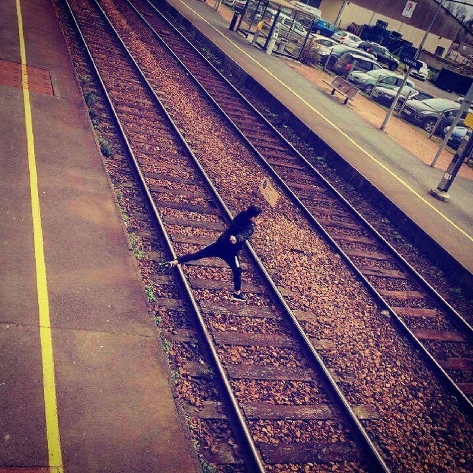 Railroad Track Rail Transportation Outdoors Metal One Boy Long Goodbye