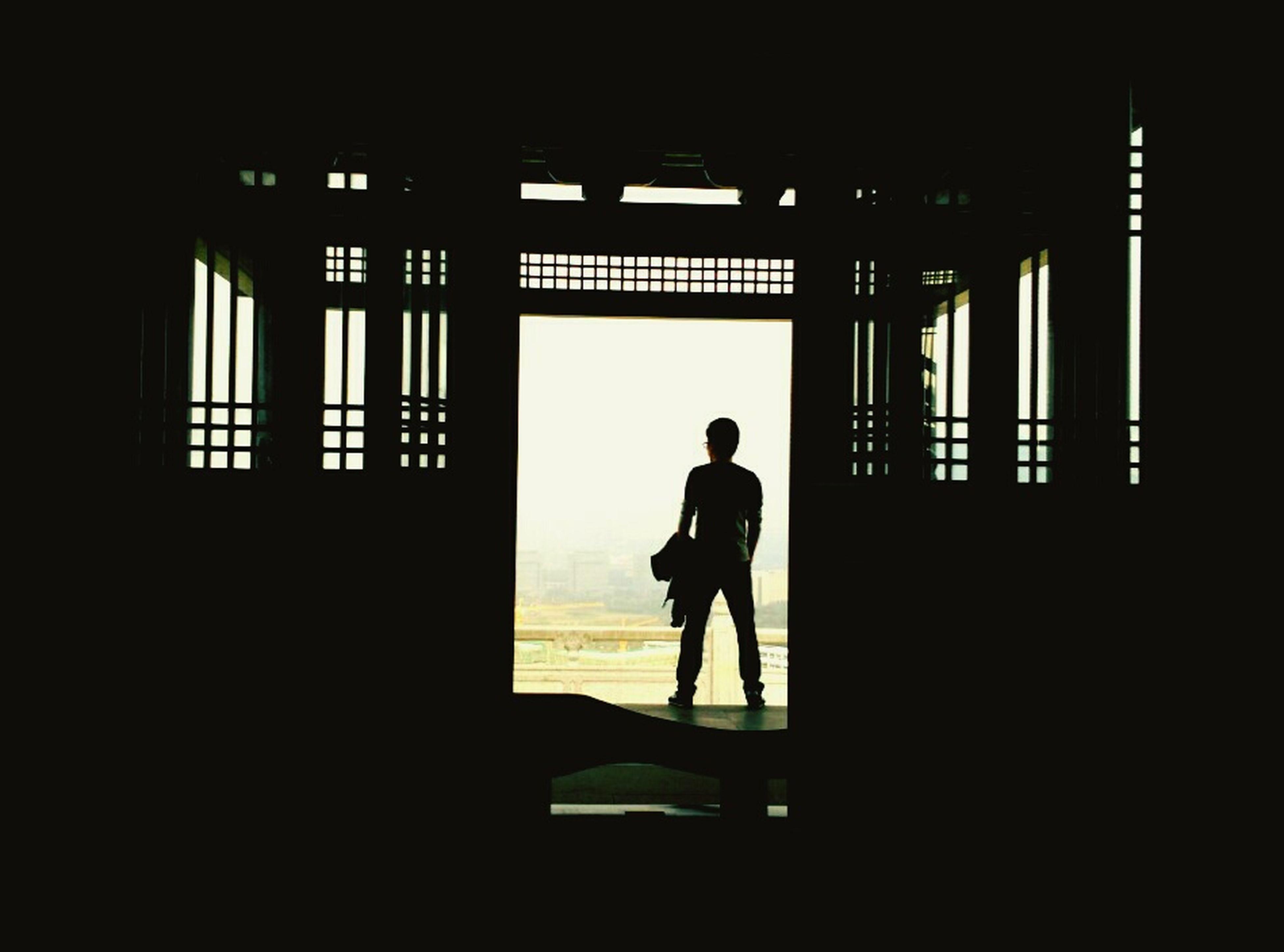 silhouette, standing, men, dark, full length, architecture, outline, interior, office building