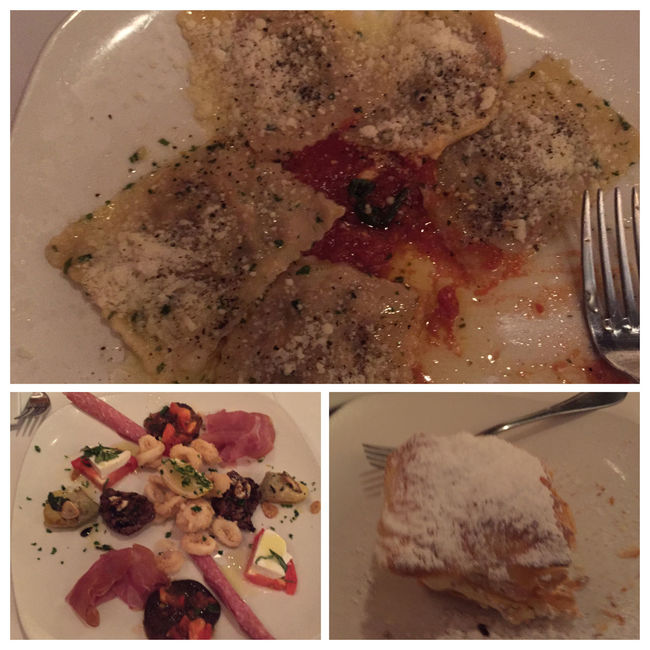Last night's dinner(at Porcini). Started with an incredible antipasto. For my main course, ossobucco stuffed ravioli. For dessert, a delicious puff pastry stuffed with a fresh whipped cream & mascarpone filling(my favorite dessert from any Philly restaurant!) MyFoodPics TheExpensiveWinos Nomnombomb Pasta Diningout LaDolceVita Enjoying Life