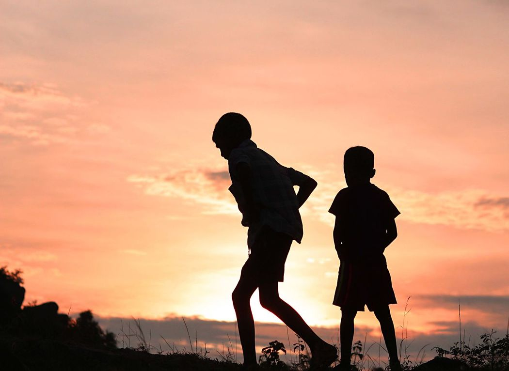 Playing out till the sun goes down. #colorful #human #landscape #sunset #sun #clouds #skylovers #sky #nature #beautifulinnature #naturalbeauty #photography #landscape Beauty In Nature Bonding Boys Childhood Cloud - Sky Friendship Full Length Leisure Activity Nature Orange Color Outdoors People Real People Scenics Silhouette Sky Standing Sunset Togetherness Walking First Eyeem Photo