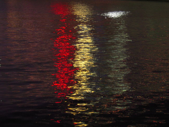 Dusk Light On Water Lights On Water Outdoors Patriotic Red White And Blue Reflection Reflection Rippled River Water