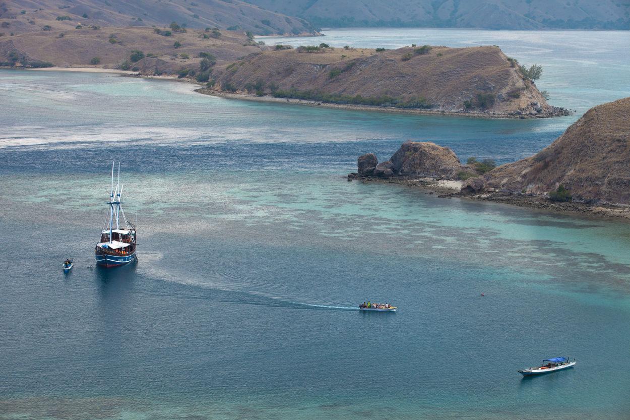 Komodo National Park Indonesia Aerial View Blue Sea Flores Gili Lawa High Angle View INDONESIA Komodo National Park Nautical Vessel No People Sea Tourism Travel Destinations Water