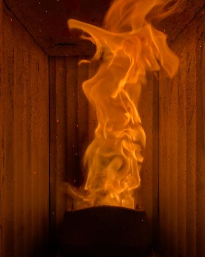 Fire Burning Heat - Temperature Flame Indoors  Night No People Close-up