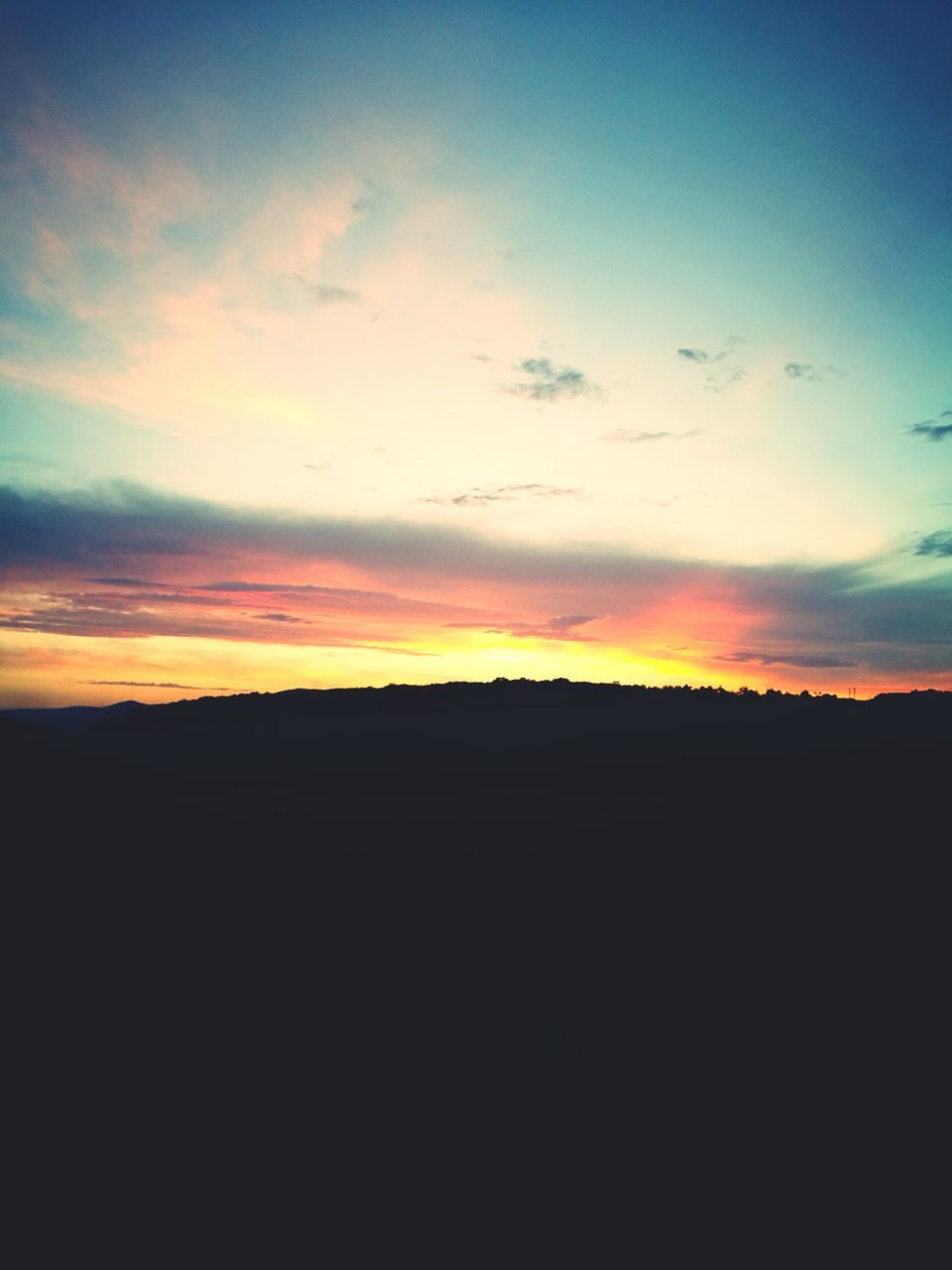 sunset, silhouette, nature, tranquil scene, sky, scenics, beauty in nature, tranquility, landscape, no people, outdoors