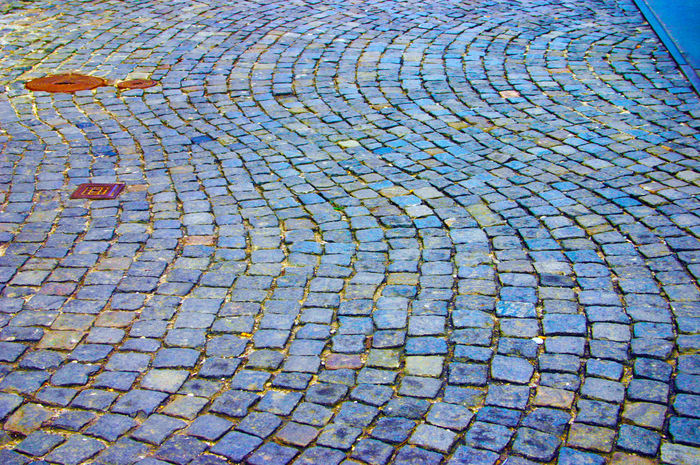 Backrounds Blue Blue Wave Curving Road Floor Pattern Pattern, Texture, Shape And Form Stone Floor Stone Mosaic Stone Road Waiving