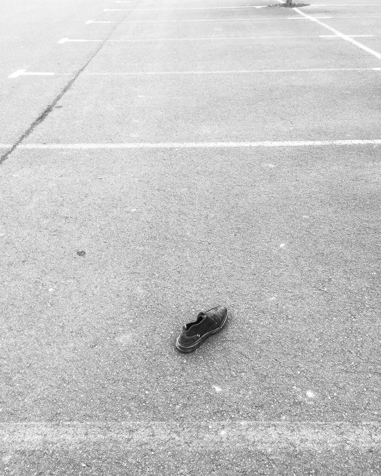 Streetphotography No People Outdoors Day Parking Shoe Chaussure Abandoned Abandoned Shoes Abandonned Things Blackandwhite Black And White