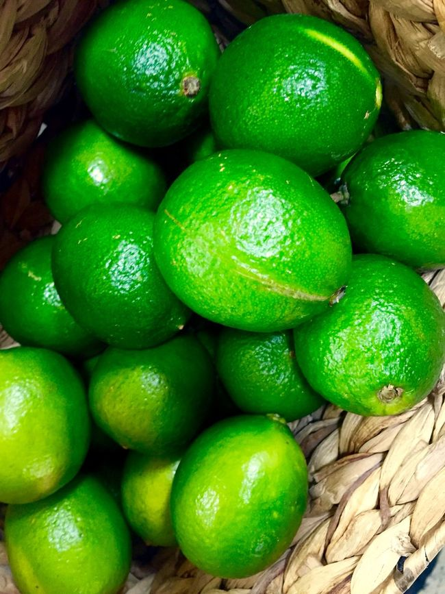 Limes Basket Of Limes Fruit Lots Many Green