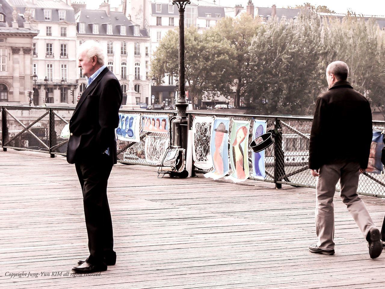 Paris,France Tourism Pont Des Arts Un Homme Seul People