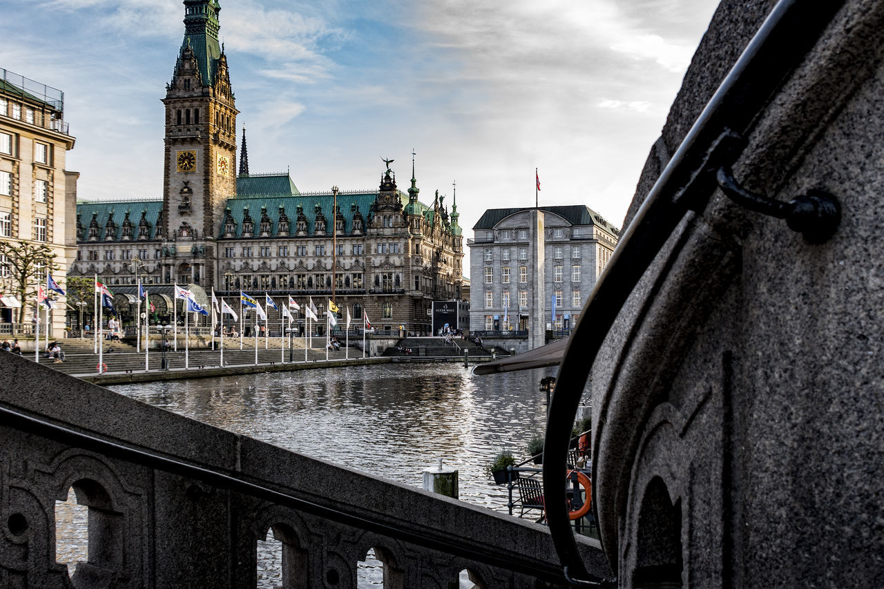 Hamburg town hall Architecture Bridge - Man Made Structure Building Exterior Built Structure Chain Bridge City Cloud - Sky Day Hamburg Town Hall History Large Group Of People Little Alster Outdoors Real People Sculpture Sky Tourism Transportation Travel Travel Destinations Water