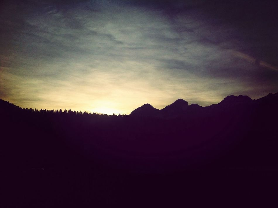 Sunset Silhuette Mountain Silhuette Hello World Evening Sky