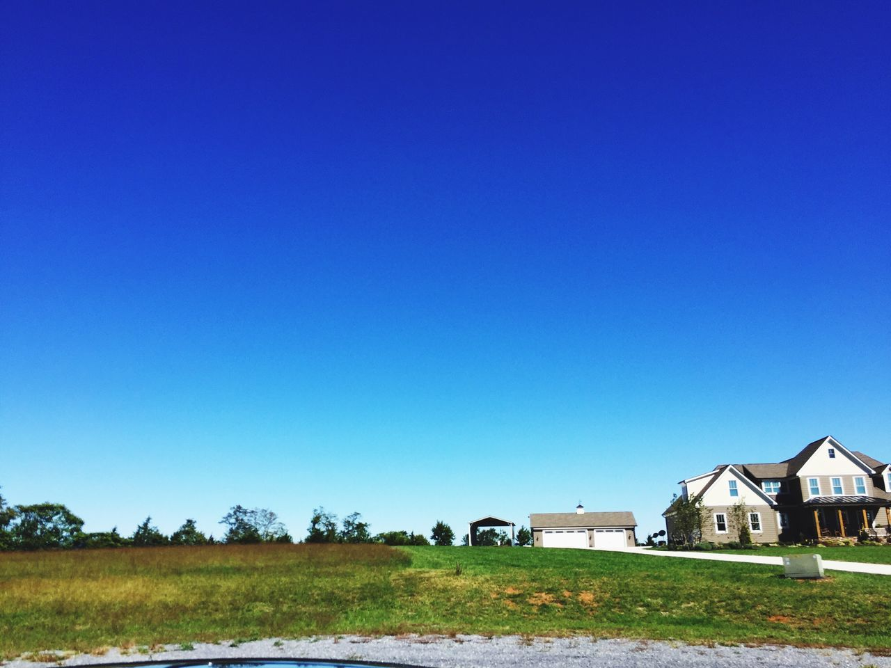 Copy Space Blue Clear Sky Building Exterior Built Structure Architecture Field No People Grass Landscape Tree Rural Scene House Nature Day Outdoors Tranquil Scene Country House Beauty In Nature