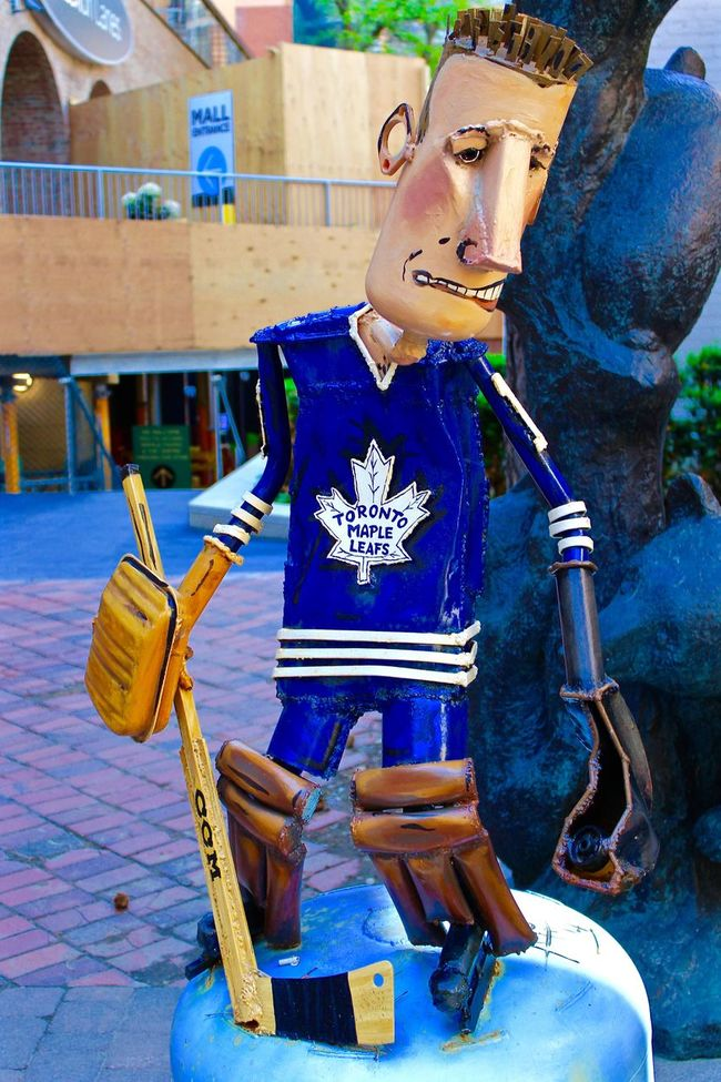 Art Blue Casual Clothing Close-up Day Focus On Foreground Hockey Maple Leafs Multi Colored Outdoors Sculpture Statue Toronto