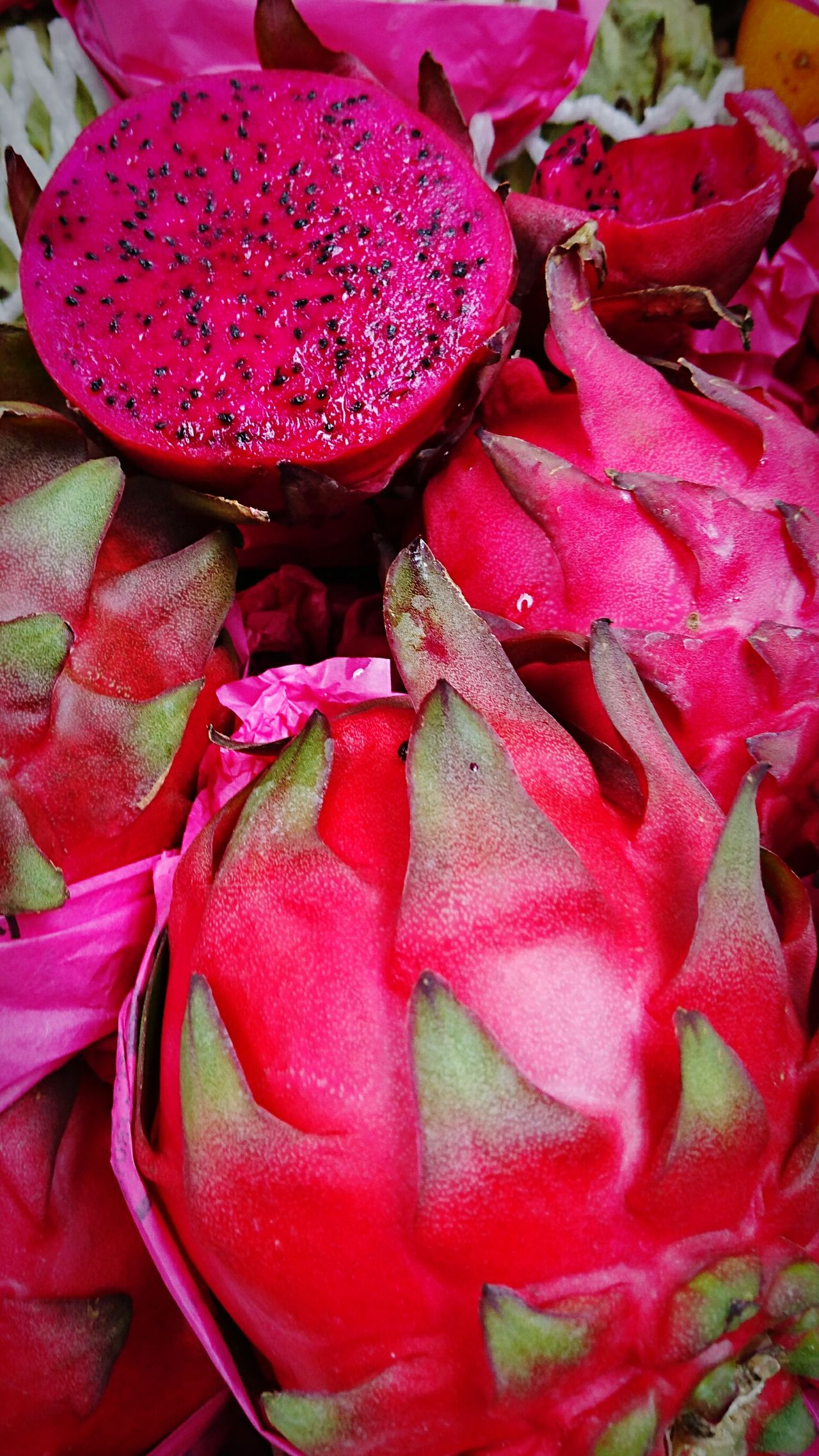 Exotic fruits: Red Pitaya. Market For Sale Variation Freshness Backgrounds Photograph Photographer Photography Photo Eye4photography  Eyeemphotography Sony Xperia Sony Colors Malephotographerofthemonth Pitaya Exotic Exotic Fruit Exotic Fruits Close-up Healthy Eating Ready-to-eat Food Market Freshness