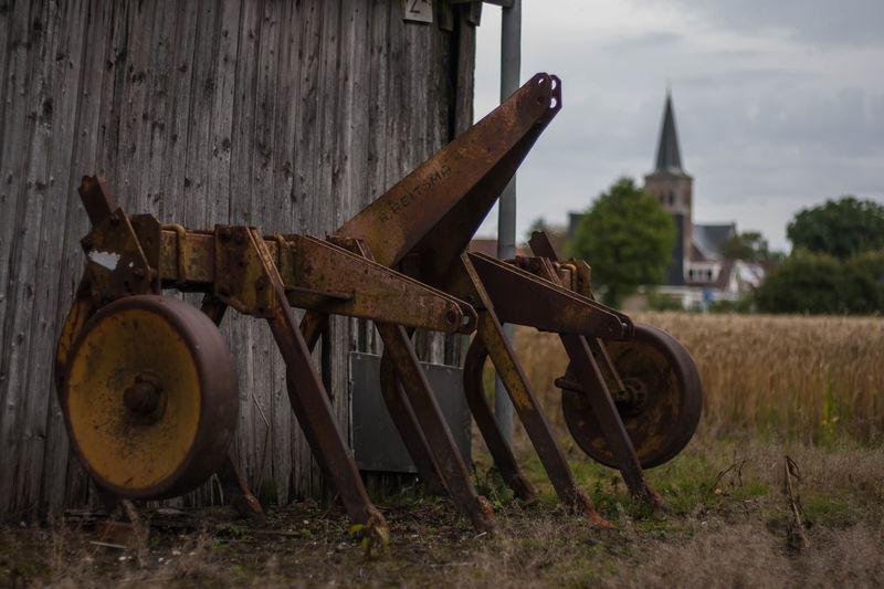 Tzummarum [NL] - An old farmers plough near a shack in the field Agriculture Farmers Tool Field Grass Outdoors Plough Plow