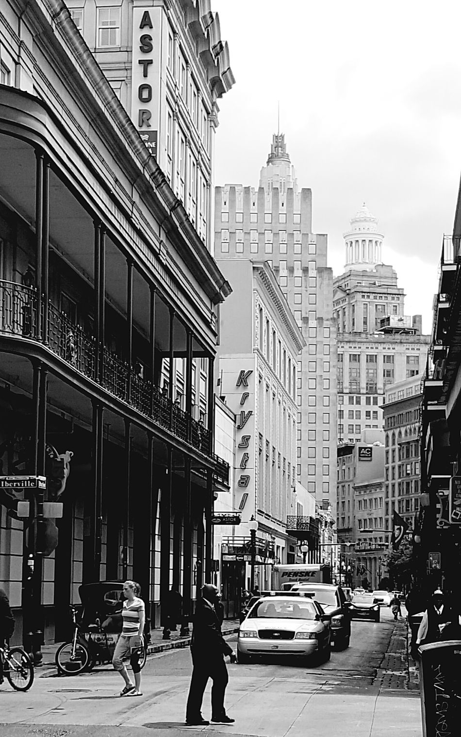 A Busy NOLA Street. Cityscape Citylife Cityspaces City Street New Orleans Louisiana Busy Street Buildings And Sky Busy People Busy Life Black And White Photography Black And White Street Photography