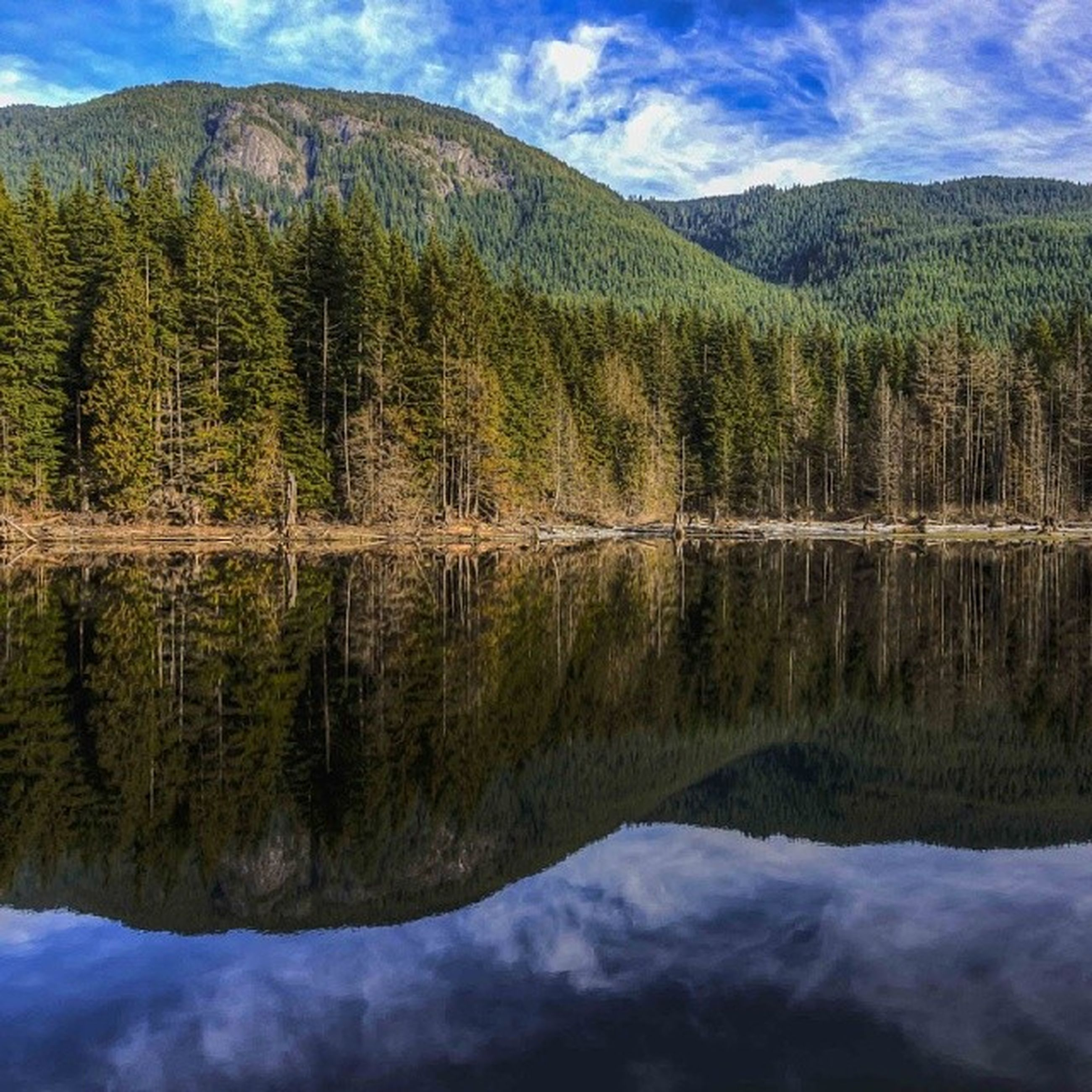 tranquil scene, mountain, tranquility, reflection, scenics, water, lake, beauty in nature, tree, nature, sky, mountain range, waterfront, standing water, idyllic, non-urban scene, landscape, river, cloud - sky, majestic