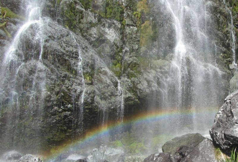 Beauty In Nature Blurred Motion Day Flowing Water Forest Idyllic Long Exposure Motion Nature New Zealand Natural No People Outdoors Power In Nature Raibow Rainbow Colors Rainbows Rainbow🌈 Rock - Object Rock Formation Routeburn Track Scenics Splashing Water Waterfall Waterfront