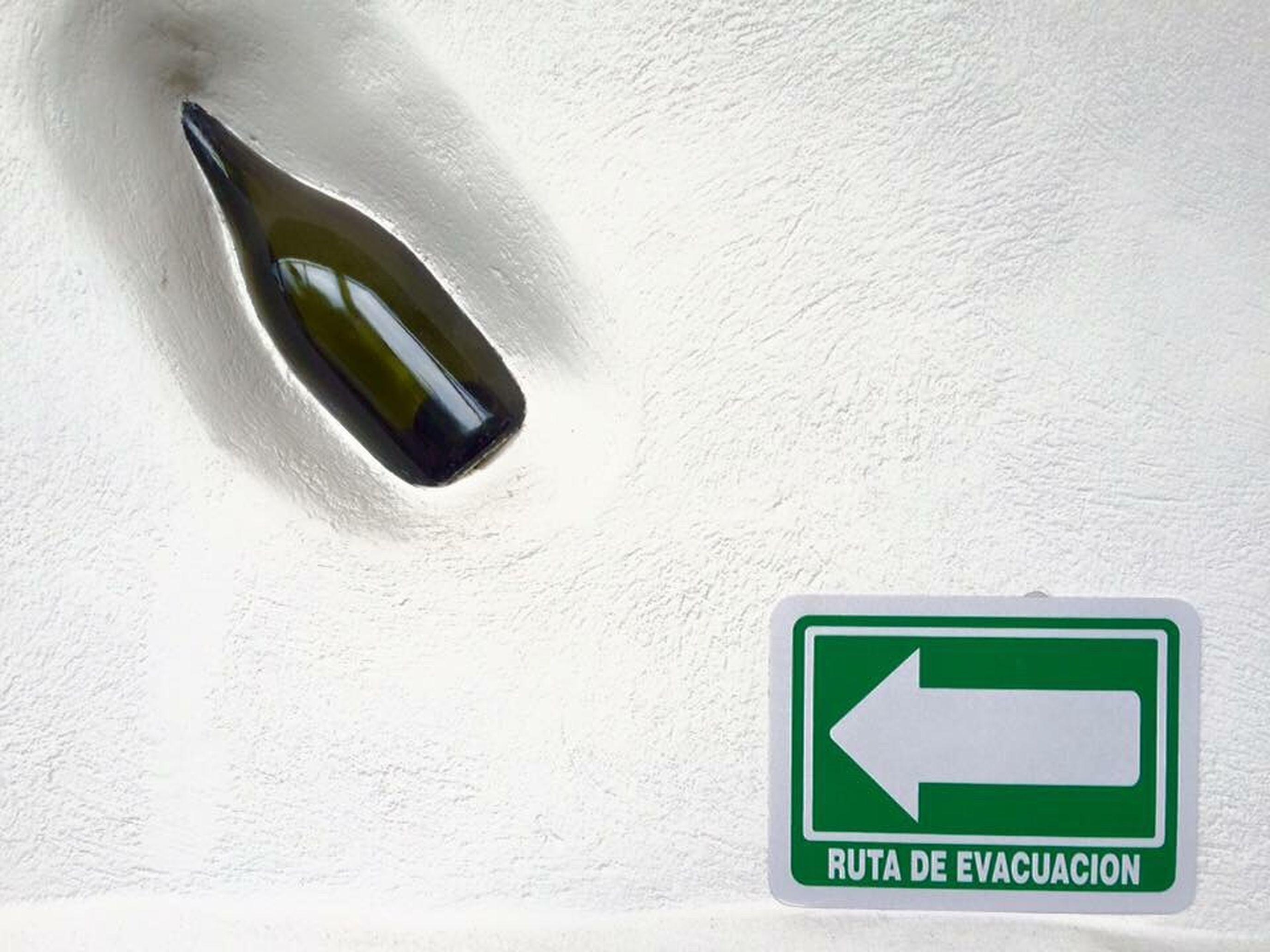 EXIT No People Indoors  Signals Bottle Bottles Collection Bottle Art Evacuation Evacuacion Auxilio Salida Protección Civil Bebidas Botellas Decorativas