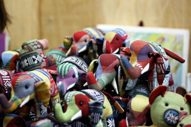 Close-up Cute Elephant Day Doll Elephant Art Elephant Doll Elephants Figurine  Gifts Large Group Of Objects Night Market In Siem Riep No People Siem Reap, Cambodia Souvenirs Variation