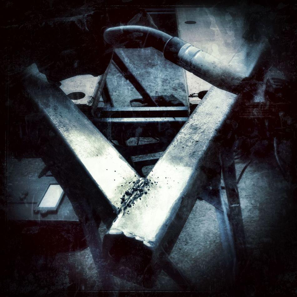 Welding with a gasless welder. Hobby Messy Metal Metalwork Metalworking Metalworks Still Life Weathered Weld Welding Welding Work