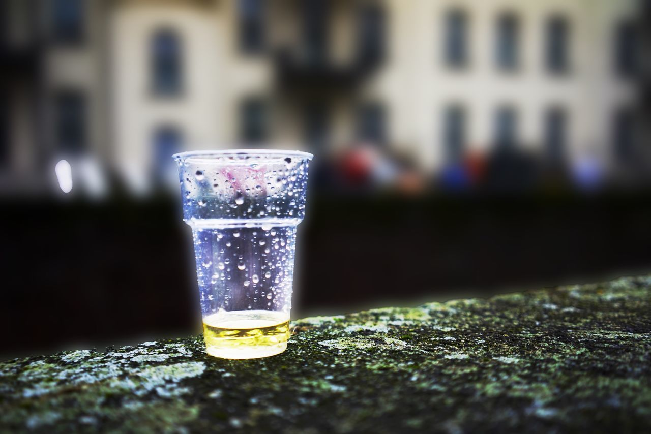 refreshment, drink, drinking glass, focus on foreground, close-up, alcohol, no people, table, freshness, water, outdoors, day