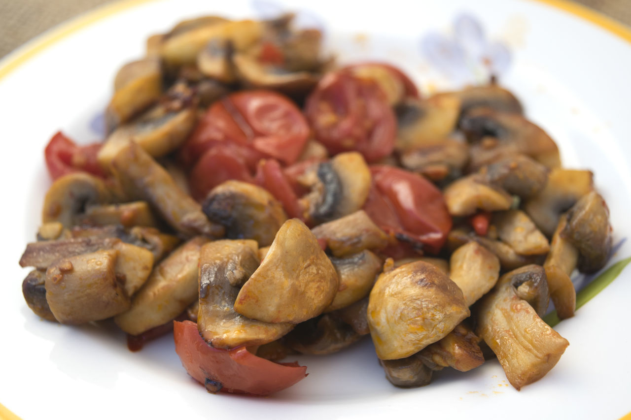 coltived mushrooms stewed with cherry tomatoes Champignon Mushrooms Stew Stewed Uccelletto