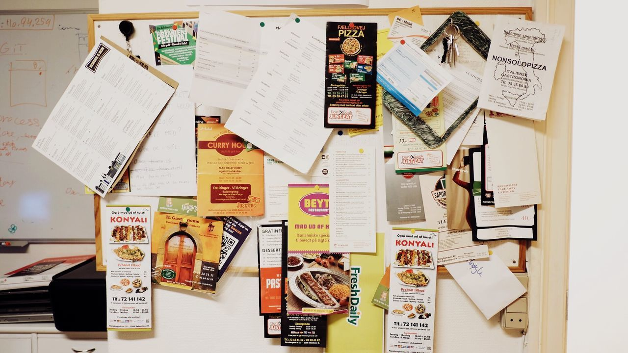 adhesive note, paper, text, hanging, reminder, message, large group of objects, photograph, variation, refrigerator, choice, multi colored, no people, indoors, day