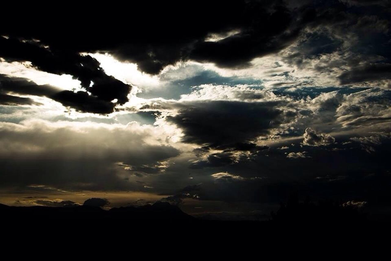 silhouette, nature, beauty in nature, sky, scenics, dark, dramatic sky, cloud - sky, tranquil scene, no people, sunset, landscape, storm cloud, outdoors, day