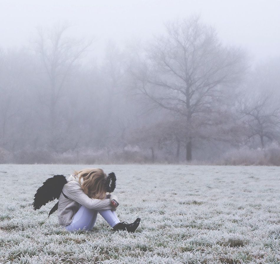 4/6 Winter Frozen Fairytale  Angel Nature Young Women Outdoors Fog Cold Temperature