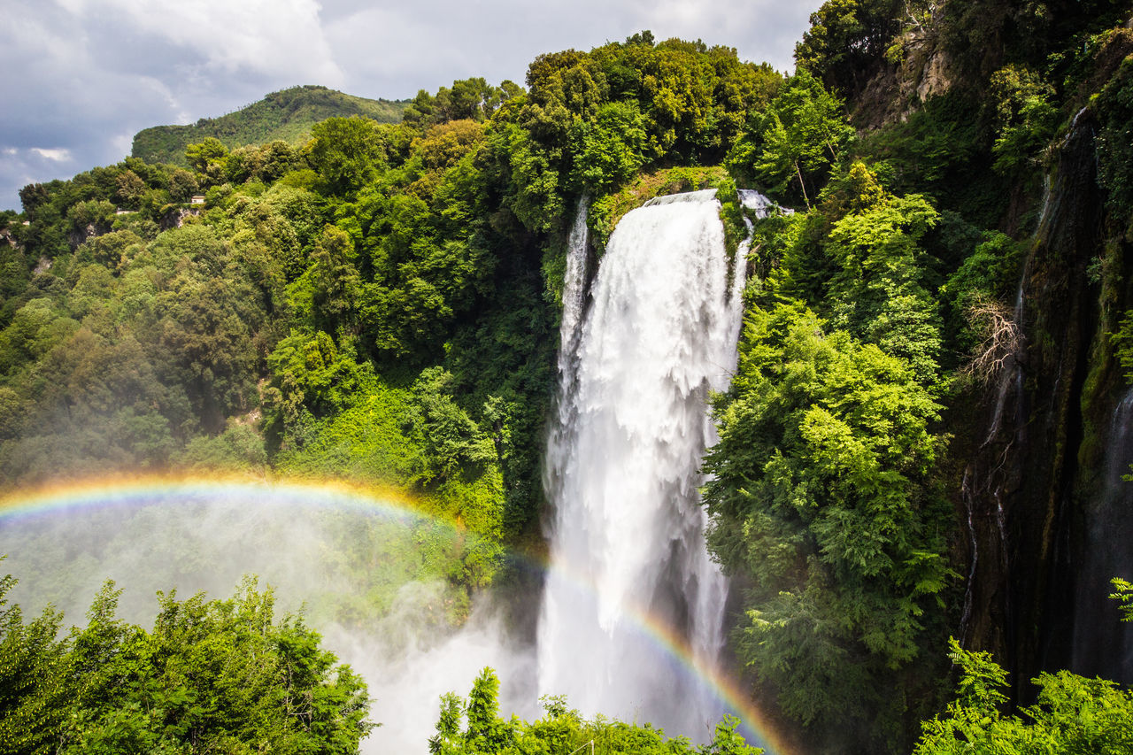 Waterfall of Marmore Beauty In Nature Cloud - Sky Day Flowing Freshness Green Color Italia Italy Long Exposure Lush - Description Marmore Marmore Falls Marmorefalls Motion Nature No People Outdoors Rainbow Rainbow Colors Scenics Sky Terni Tree Water Waterfall