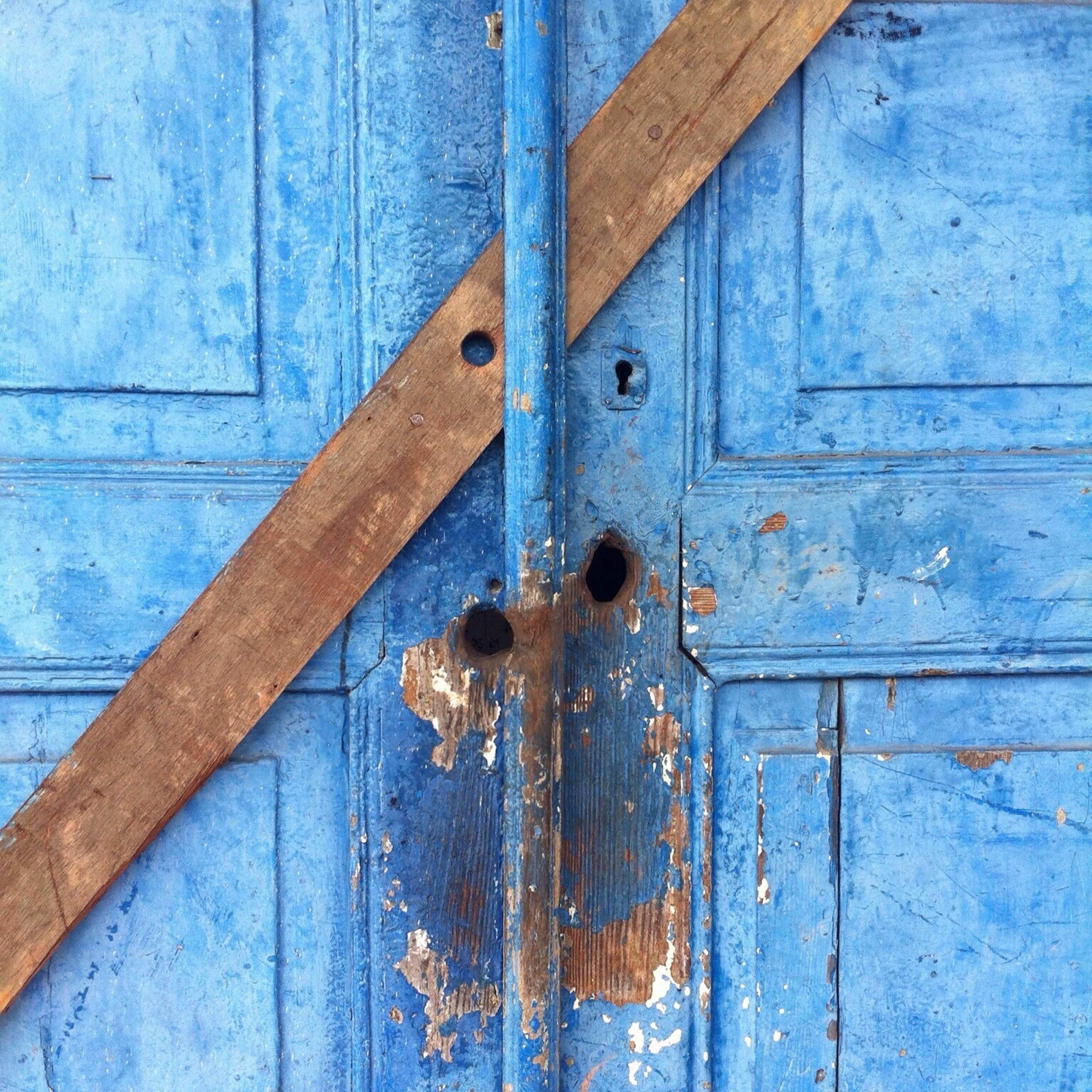 wood - material, weathered, rusty, door, wooden, old, metal, full frame, close-up, backgrounds, blue, safety, protection, closed, wood, security, textured, deterioration, damaged, run-down