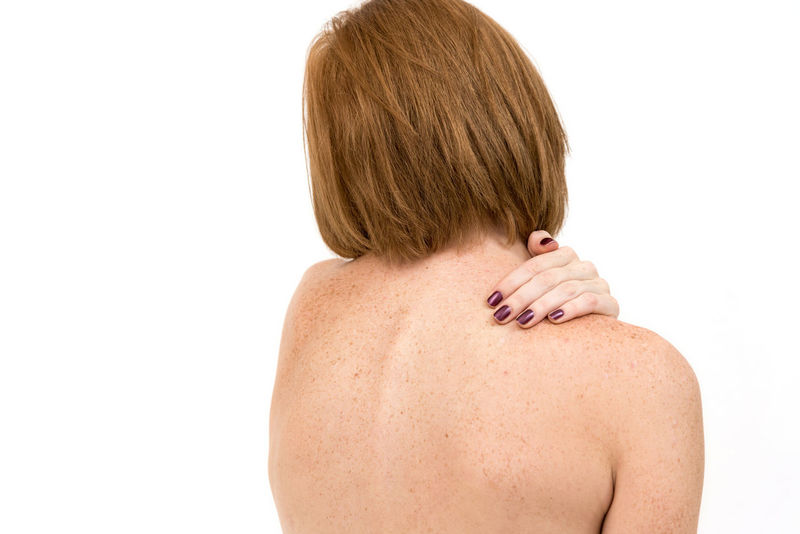 Fatigue  Pain Shoulder Adult Back Backache Disease Human Back Human Body Part Human Hand Human Neck Human Skin Massage Massaging Muscle Occupational Safety And Health One Person People Rear View Relax Shirtless Sickness Studio Shot White Background Women