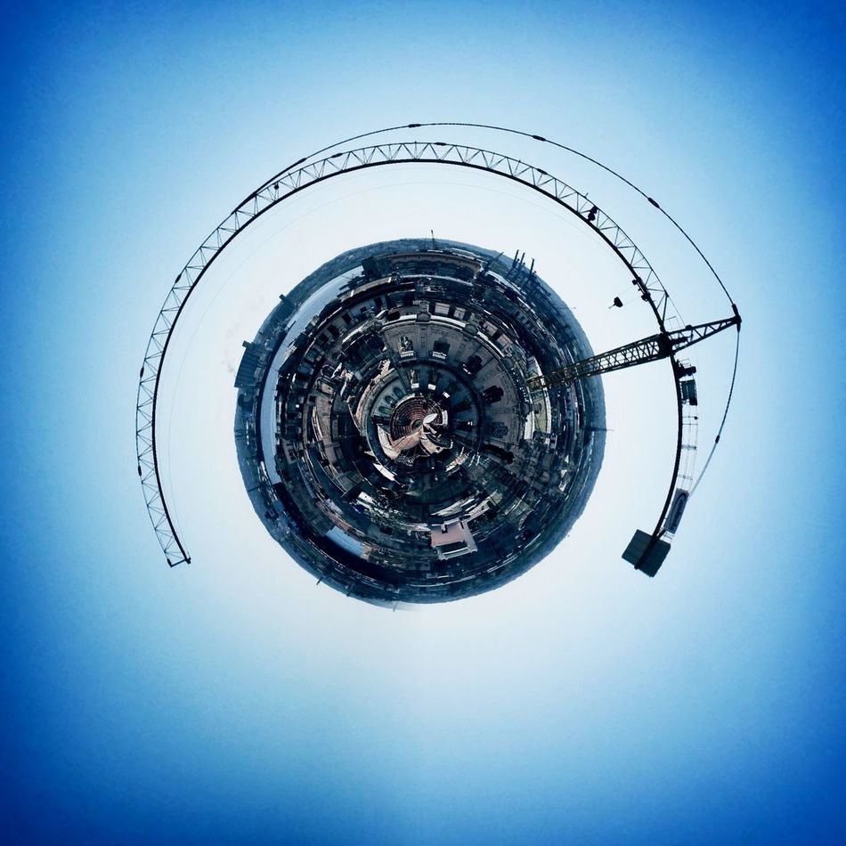we built this planet Blue Circle Circular Crane IPhoneography Kran Quadratisch Round Snapseed Square Tadaa Community Tiny Planet Tinyplanets Vignette