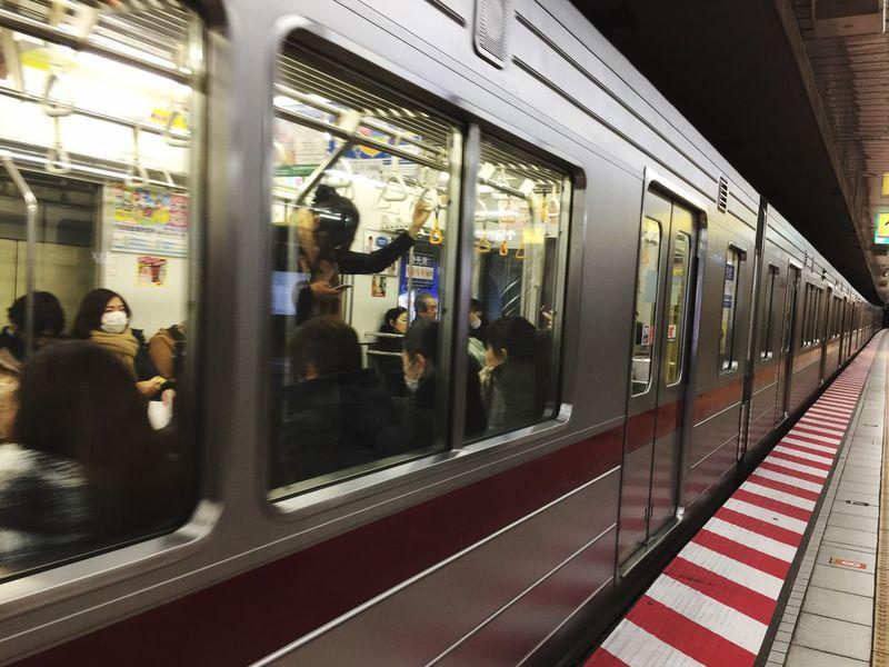 Transportation Public Transportation Mode Of Transport Window Real People Train - Vehicle Illuminated Subway Train Men Indoors  Metro Train Day Kabuki-za Travel Destinations Urban Lifestyle Ginza Tokyo Japan Tsukiji Fish Market