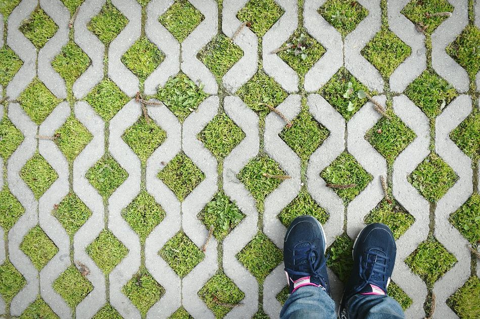 Shoe Low Section Human Body Part One Person Human Leg Pattern Real People Personal Perspective High Angle View Standing People Day Outdoors The Secret Spaces Green Backgrounds Textured  Parking Lot