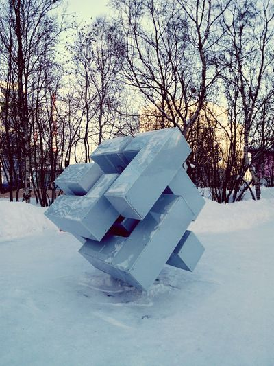 New Contemporary Art Sculpture in redesigned Park in Murmansk Winter Sunny Day Small City Life