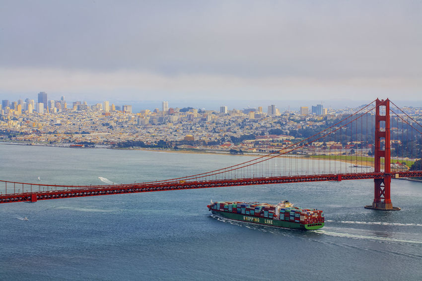 Panoramic view of San Francisco and Golden Gate Bridge Architecture Bridge - Man Made Structure Business Finance And Industry City Cityscape Cloud - Sky Day Golden Golden Gate Bridge Nautical Vessel No People Outdoors Red Bridge River San Francisco San Francisco Bay Bridge Ship Sky Skyscraper Suspension Bridge Transportation Travel Destinations Urban Skyline USA Water