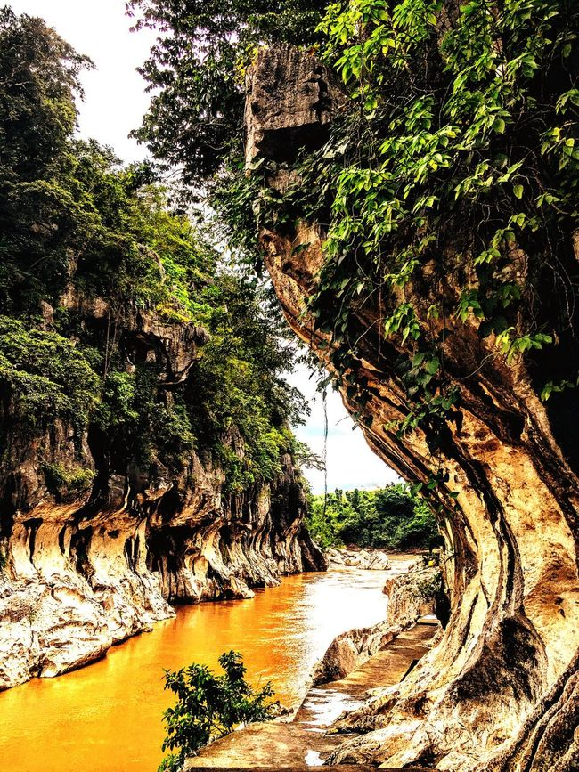 River after the rain. Beauty In Nature Rock Formation Tranquil Scene Nature Water Tree Scenics Rock - Object Stream Cliff Flowing TravelPhilippines Tranquility Plant Eroded Green Color Majestic Growth Eyeem Philippines Taking Photos Travel Photography Philippines Photos EyeEm Nature Lover