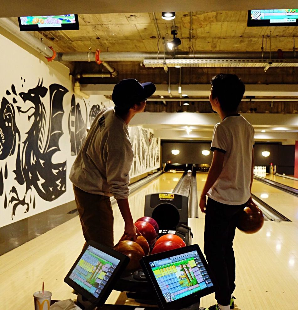Game time Two People Game Bowling Bowling Alley Friends Friendship Looking Sports Sports Photography Teenager Teenage Boys Teenagers
